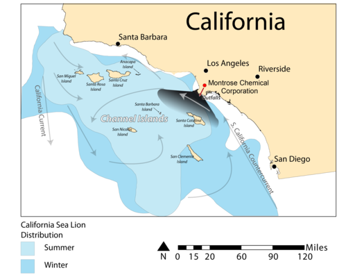 Montrose Chemical Corporation-map of California coastline affected by company toxic waste dumping